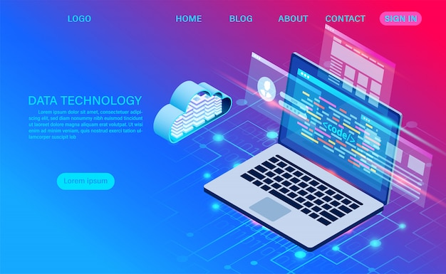 Datacenter server room cloud storage technology and big data processing protecting data security . digital information. isometric. cartoon Premium Vector