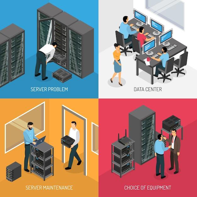 Datacenter изометрические иллюстрации набор Бесплатные векторы