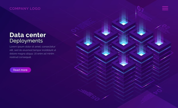Date center isometric concept, server room Free Vector