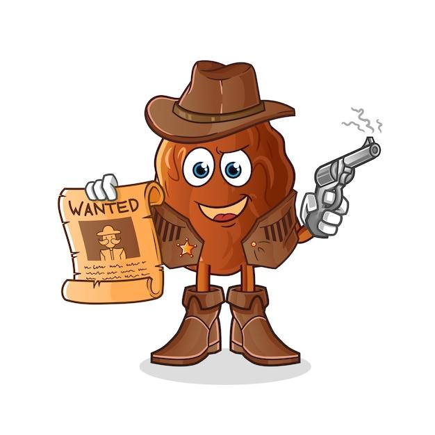 Свидание фруктовый ковбой держит пистолет и разыскивает плакат иллюстрации Premium векторы