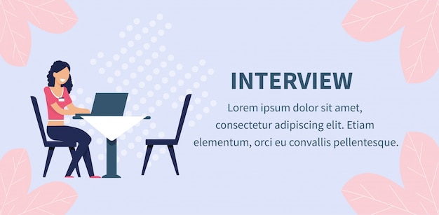 Dating agency employee interviewing client banner Premium Vector