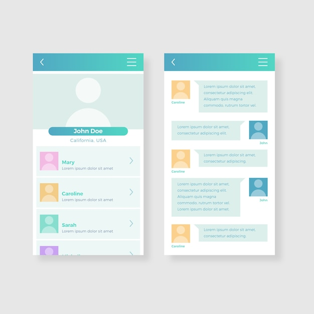 出会い系アプリのチャットインターフェイスコレクション 無料ベクター