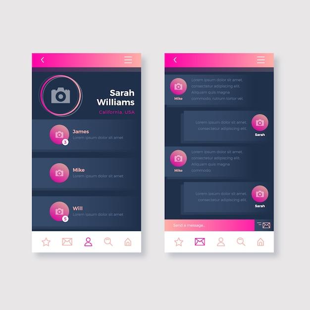 出会い系アプリのチャットインターフェイスセット 無料ベクター