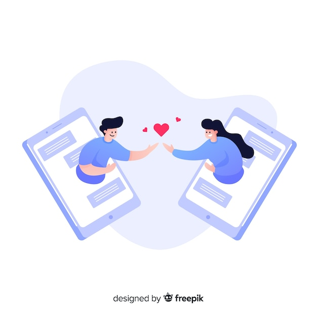 Dating app concept flat design Free Vector