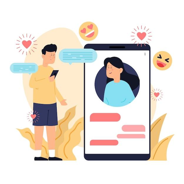 Знакомства приложение концепции иллюстрация с мужчиной и женщиной Бесплатные векторы