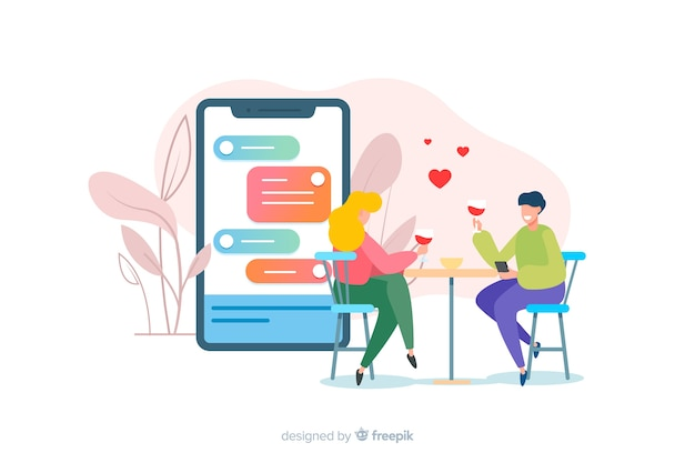 Dating app concept with boy and girl illustrated Free Vector