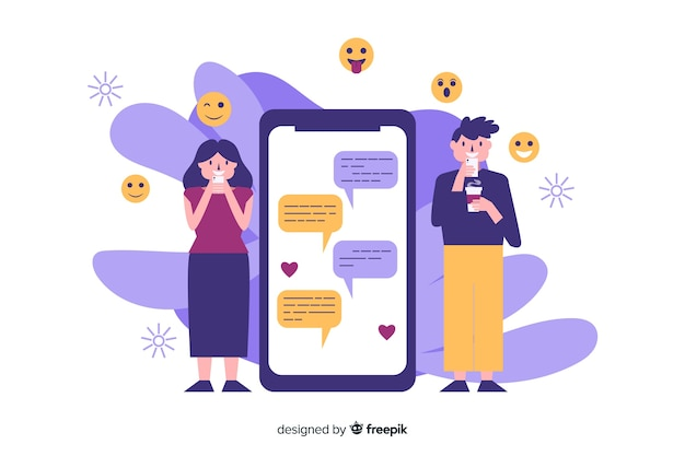 Dating app concept with illustrations Free Vector