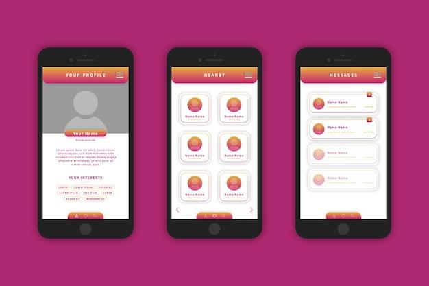 出会い系アプリのデザインインターフェイス 無料ベクター