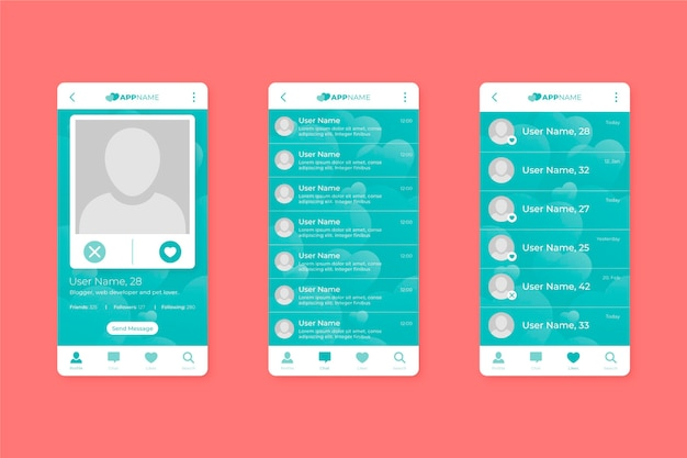 Dating app interface collection template Free Vector