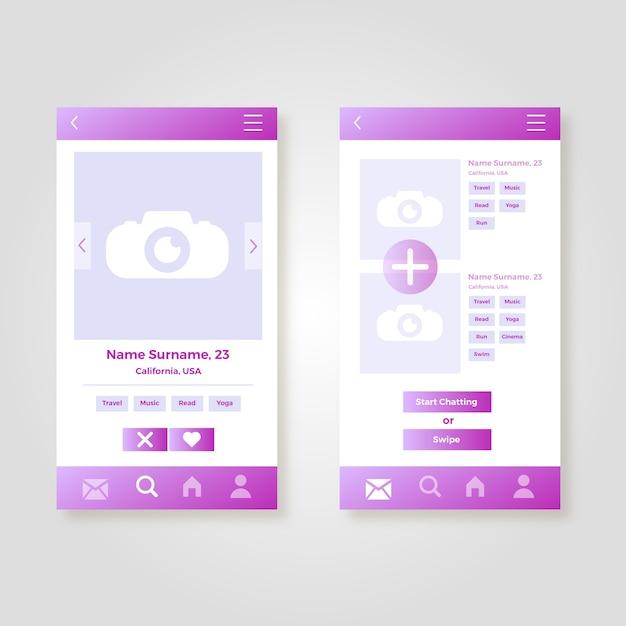 出会い系アプリのインターフェイスコレクション 無料ベクター