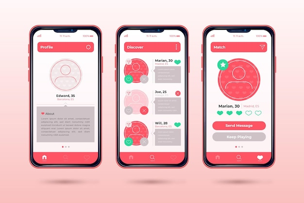 Dating app interface concept Free Vector