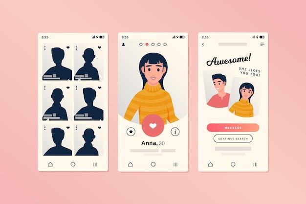 スマートフォン用の出会い系アプリのインターフェース 無料ベクター
