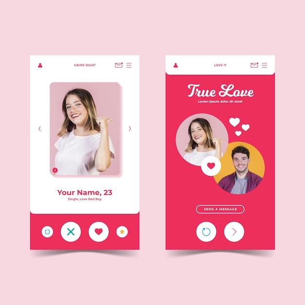 出会い系アプリのインターフェーススタイル 無料ベクター