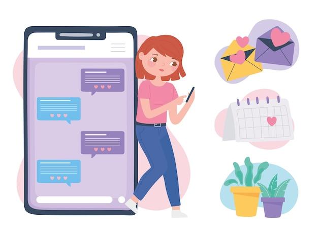 電話での出会い系アプリ、オンラインコミュニケーションと接続、ロマンチックな関係のベクトル図 Premiumベクター