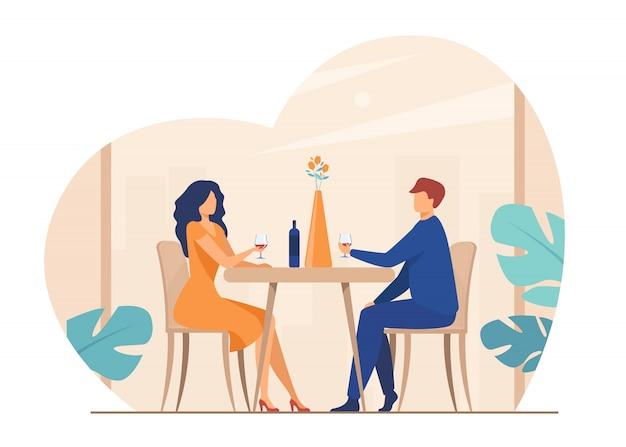 Dating couple enjoying romantic dinner Free Vector