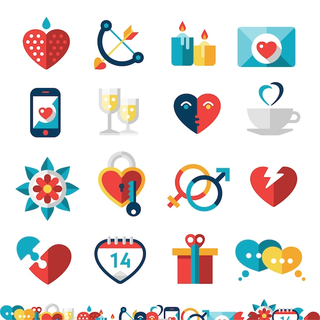 Dating icon set Free Vector