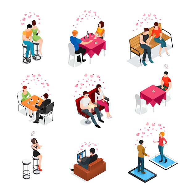 Dating isolated isometric icons Free Vector