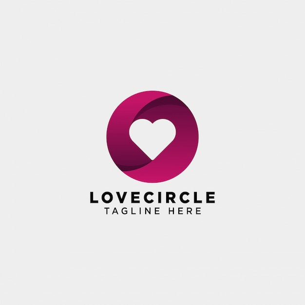 Dating love circle gradient logo vector icon isolated Premium Vector