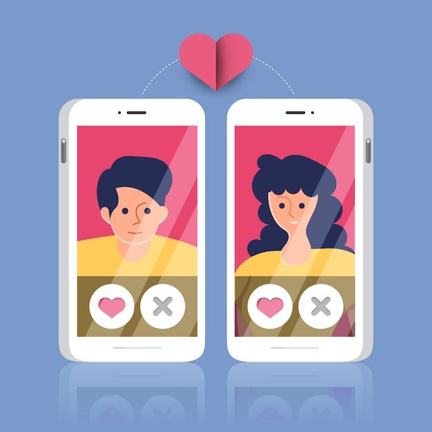 Dating online application Premium Vector