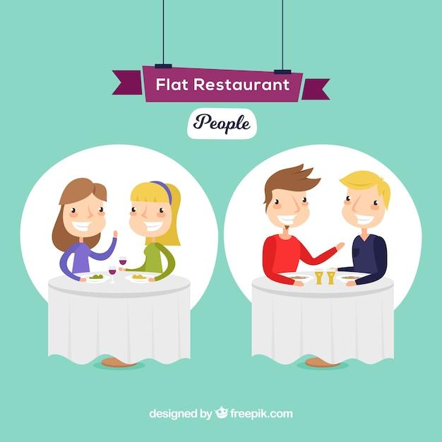 Dating scene in a restaurant