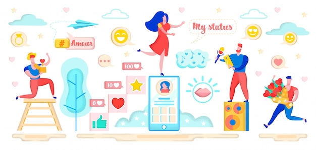Dating in social networking site virtual relation. Premium Vector