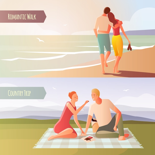 Dating in the wild set Free Vector