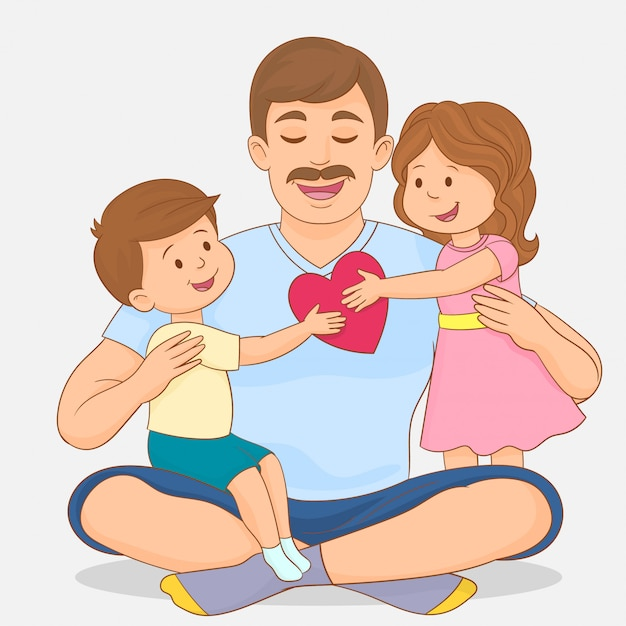 娘と息子の父の日を祝う Premiumベクター