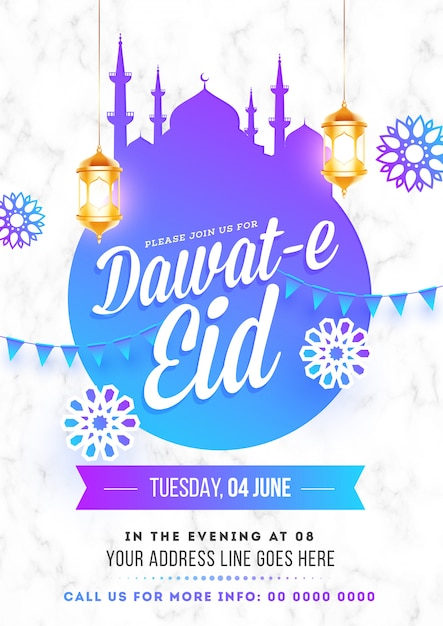 Dawat-e eid event flyer or poster template Premium Vector