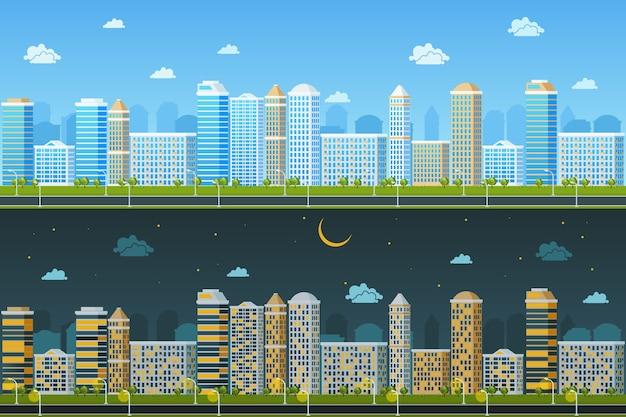 Дневной и ночной городской пейзаж. архитектура здания, городской город, векторные иллюстрации Бесплатные векторы
