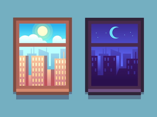 昼と夜のウィンドウ。月と星と夜、家の窓の中の太陽と日で漫画の高層ビル。 Premiumベクター