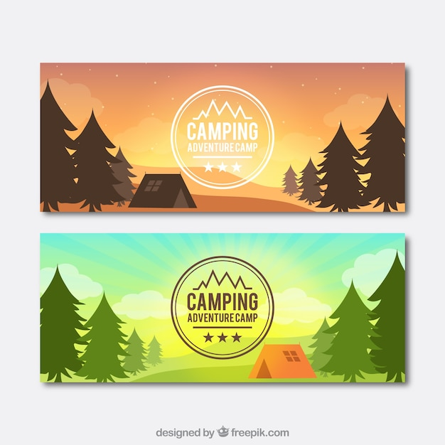 Day and sunset landscape with a camping tent\ banners
