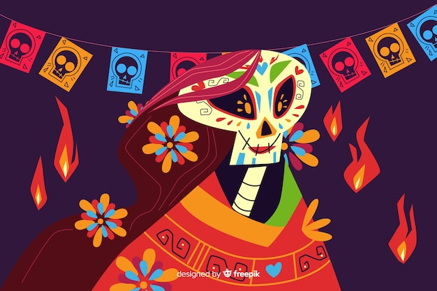Day of the dead background flat design Free Vector