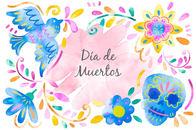 Day of the dead background watercolor style Free Vector