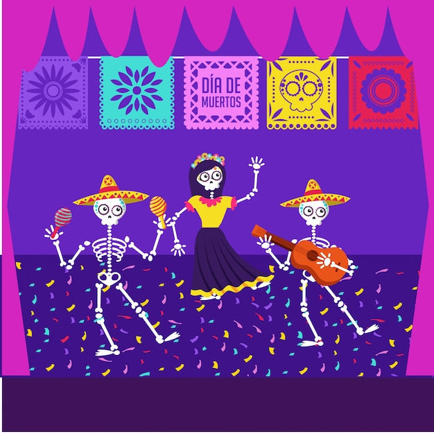 Day of the dead cartoon card Premium Vector