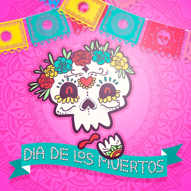 Day of dead fiesta celebration vector illustration Premium Vector