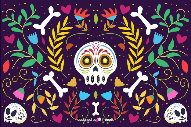 Day of the dead flat background Free Vector
