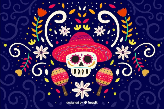 Day of the dead flat design background Free Vector