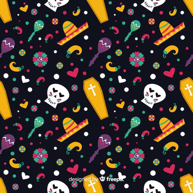 Day of the dead flat design pattern Free Vector