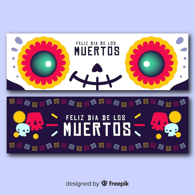 Day of the dead hand drawn banners Free Vector