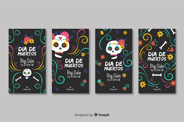Day of the dead instagram stories collection Free Vector