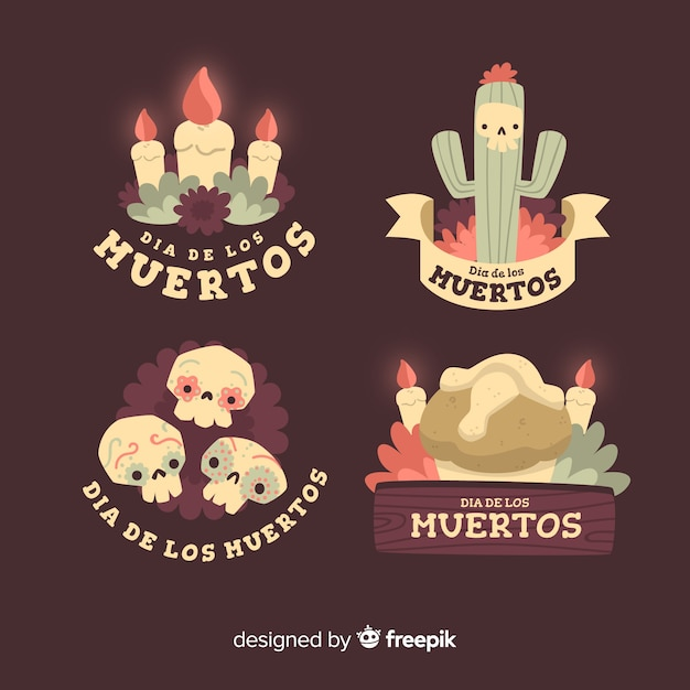 Day of the dead label collection Free Vector