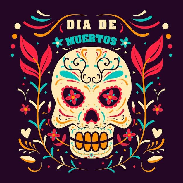 Day of dead in mexico, dia de los muertos holiday  template Premium Vector