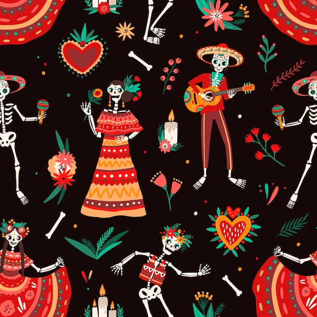Day of the dead motley seamless pattern Premium Vector