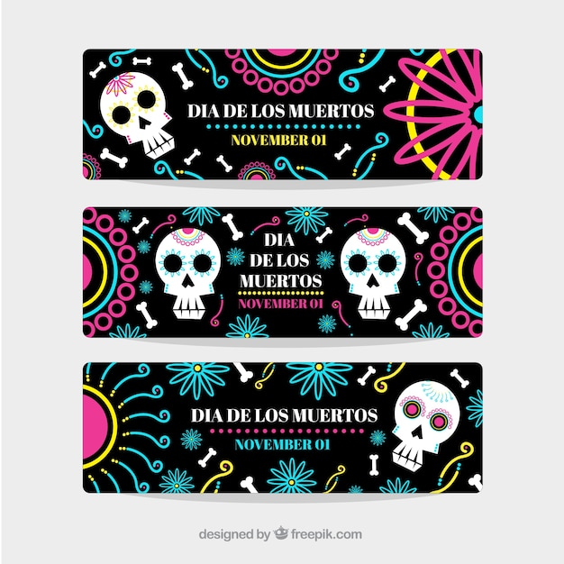 Day of the dead ornamental banners set Free Vector