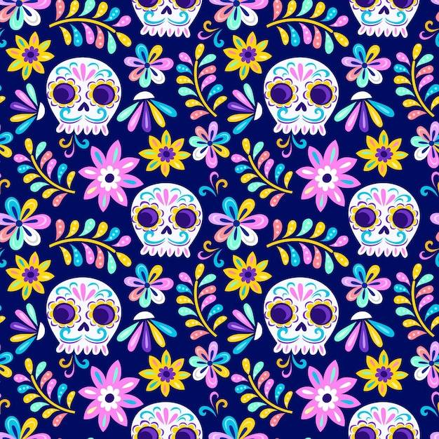 Day of the dead pattern design Free Vector