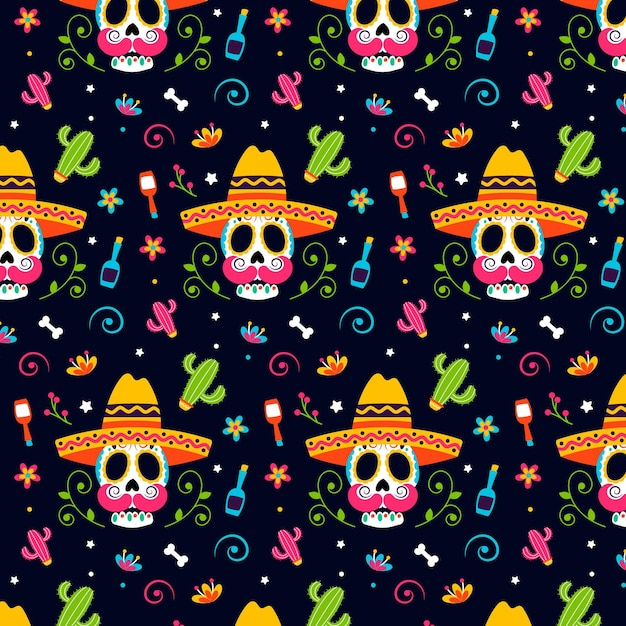 Day of the dead pattern flat design Free Vector