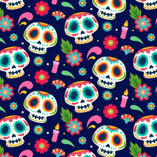Day of the dead pattern hand drawn design Premium Vector