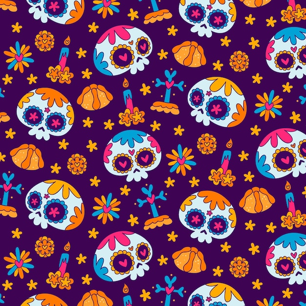 Day of the dead pattern hand drawn design Free Vector