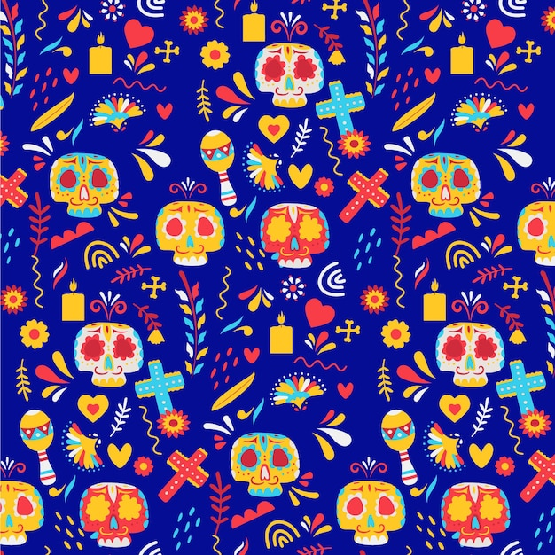 Day of the dead pattern with colorful skulls Free Vector