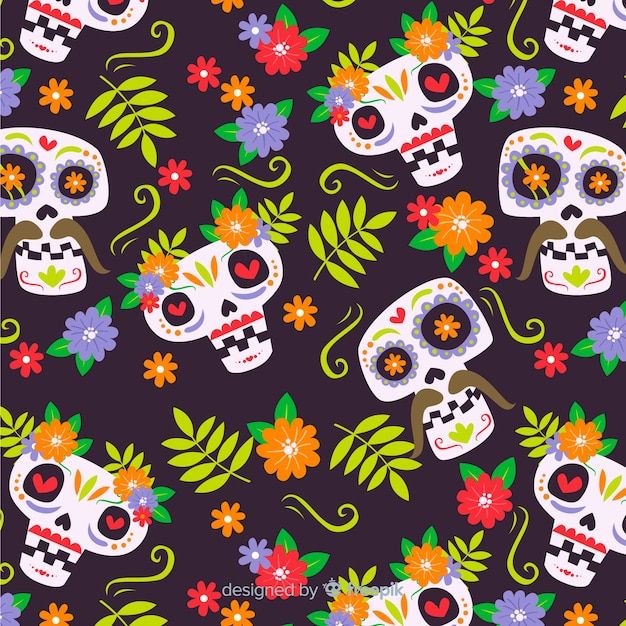 Day of the dead pattern Free Vector